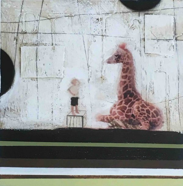 mixed media on paper titled Giraffe by Anke Schofield