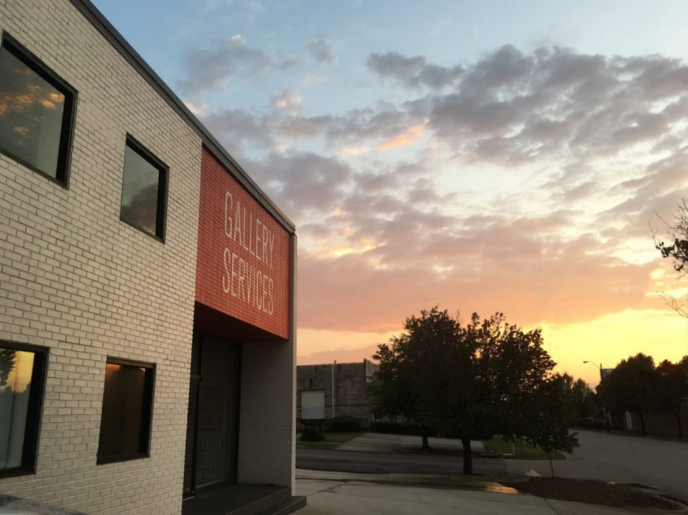 Sunset behind the Gallery Services building