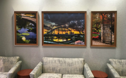 Artwork hanging in the lobby of Mount Carmel Rehabilitation Hospital