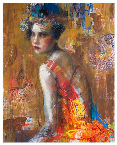 hand embellished pigment print titled The Circus Rider by Charles Dwyer