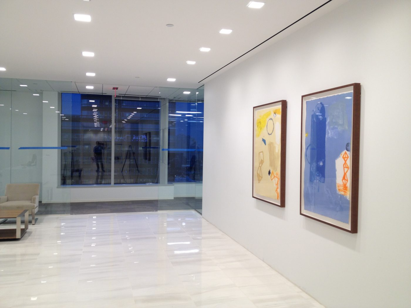 30th floor lobby showing two works by spanish artist Joaquin Capa