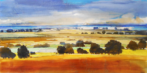 landscape painting titled Clearing Skies by artist J Lange